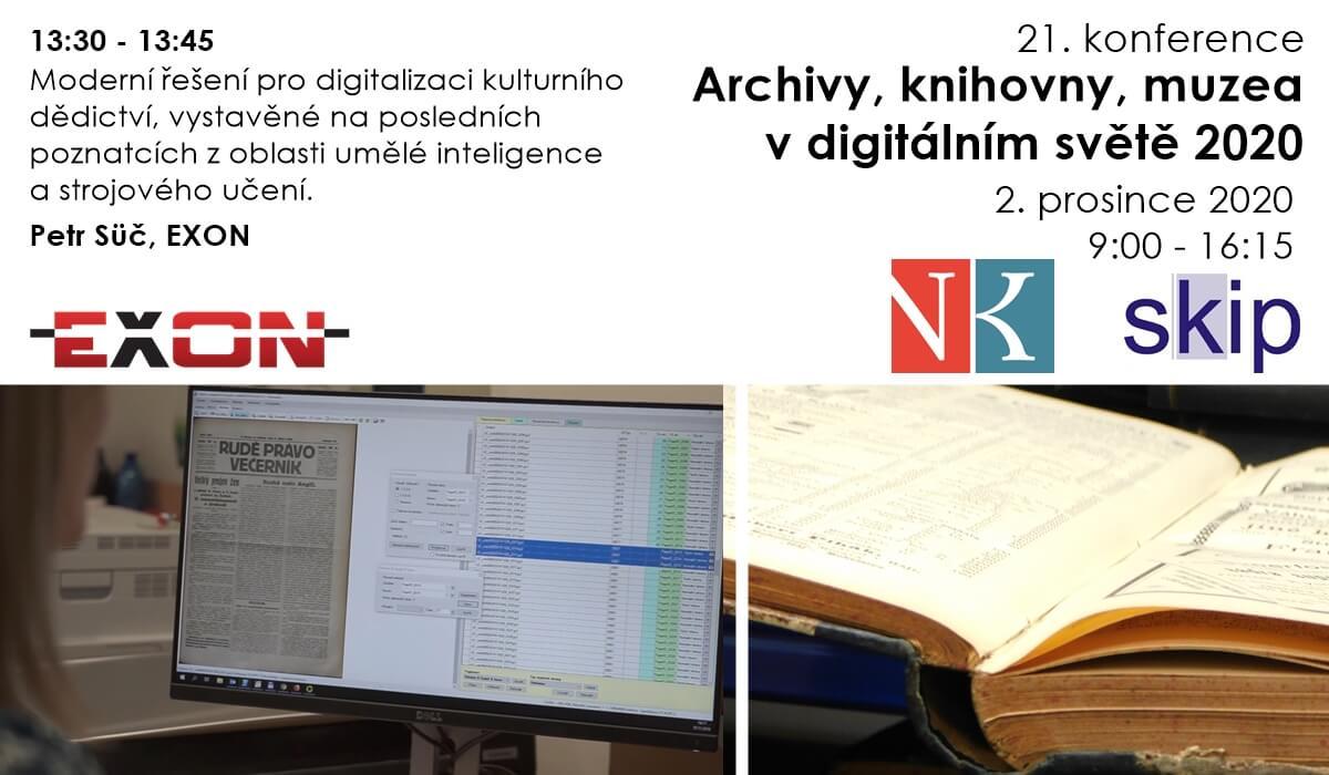 Pozvánka na 21. konferenci: Archivy, knihovny, muzea v digitálním světě 2020