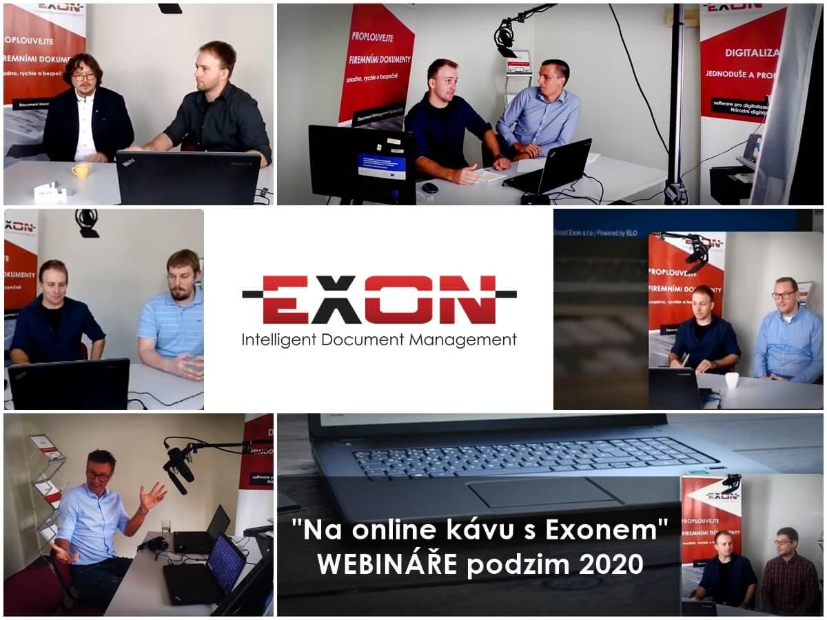 """Webináře EXON """"Na online kávu s Exonem"""" pořadané na podzim 2020. 7 webinářů na témata digitalizace a DMS/ECM systémy."""